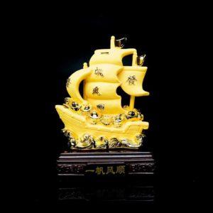 เรือสำเภาบรรทุกทอง ฐานไม้ – FSP004