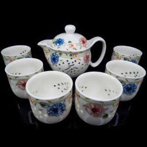 ชุดกาน้ำชาจีนเซรามิค ลายดอกไม้ – TSS001