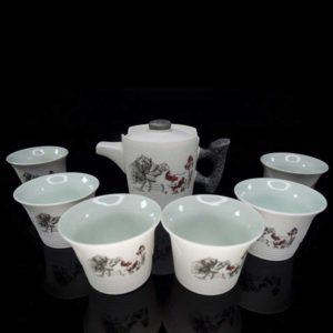 ชุดกาน้ำชาจีนเซรามิค ลายดอกบัว – TSS002