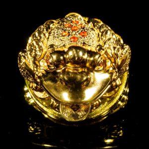กบคาบเหรียญ กิมเซียมซู ฐานหมุน  ขนาด สูง12 กว้าง16 ลึก16 ซม…fr002