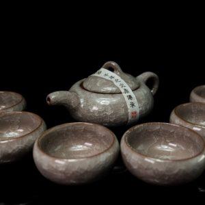 ชุดกาน้ำชาจีน กานํ้าชา สูง7ซม กว้าง14ซมถ้วยชา มี6ใบ ขนาด สูง6ซม กว้าง6ซม