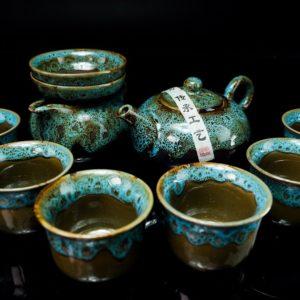 ชุดกาน้ำชาจีน กานํ้าชา สูง6ซม กว้าง10ซม ถ้วยชา มี6ใบ ขนาด สูง5ซม กว้าง7ซม- TSS0012
