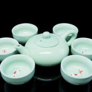 ชุดกาน้ำชาจีน กานํ้าชา สูง7ซม กว้าง15ซมถ้วยชา มี6ใบ ขนาด สูง4ซม กว้าง6ซม- TSS007
