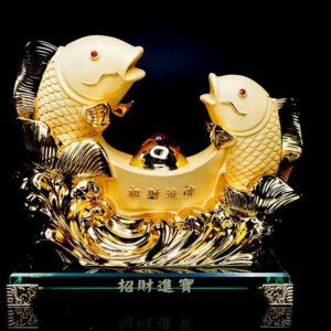 ปลา2ตัวก้อนทอง  ขนาด  สูง19 ซม กว้าง19 ซม ลึก9 ซม