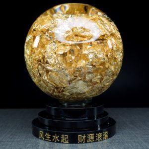 ลูกแก้ว ในลูกแก้วใส่ทองคำเปลว ขนาด  สูง13 กว้าง9ซม CAL002