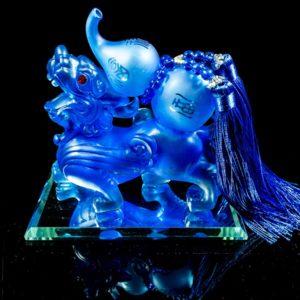 ปี่เซียะ แบกน้ำเต้า สีนำเงิน ขนาด สูง14ซม กว้าง 14ซม ลึก 8 ซม. APS010