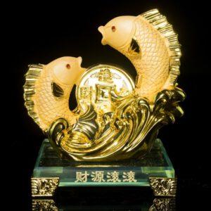 ปลาหลี่ฮื้อคู่   ขนาด  สูง14ซม กว้าง10 ซม ลึก8ซม