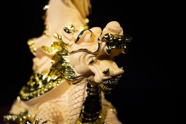 เจ้าแม่กวนอิม ปางประทานทรัพย์ ยืนเต่ามังกร ทรายทอง เรซิ่น